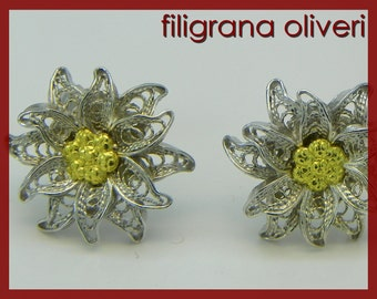 Edelweiss Earrings , Silver filigree - made in italy