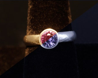Lab Created Color-Change Sapphire 6mm Round Bezel Sterling Silver Ring