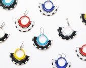 Tribal Pattern Beaded Fan Earrings - Masai Inspired Handmade Jewelry - Mother's Day Gifts