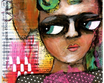 Modern Girl, 8x10 Original Painting, Mixed Media, Girl Portrait, Polka Dolka, Weird, Bright Colors, Woman Face, Hot Pink, CraftyMoira