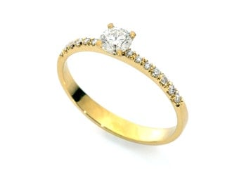 Diamond engagement Ring -  , Classic engagement ring,  Classic solitaire ring, Gold, 14k gold ring