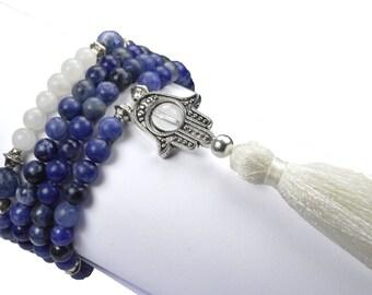 108 Prayer Beads Gemstone Yoga Mala Azurite Amazonite By