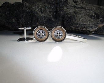 Set of Steampunk Crosses 1 Cuff Links and Tie Clip Set 20mm/Steampunk Brooch Crosses Tie Clip and Cuff Link Set for Him/Men Gift