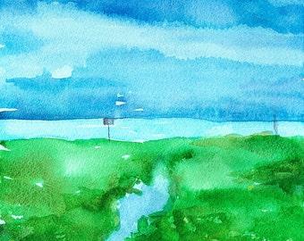 "Watercolor landscape, impressionist beach scene dunes, original watercolor painting, 9"" x 12"" Dunes and Sky by Lauren Grant"