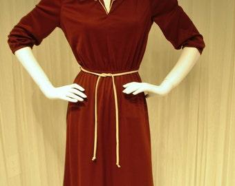 "Mod Disco 1970/80 Rust Colored Nylon Jersey Dress 36""+ Bust"