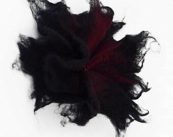 Felted Brooch nuno nunofelt silk flower folk boho black ruby wool victorian fairy