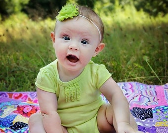 Lime Green Shabby Chic Flower on a Skinny Elastic Headband, Newborn Headband, Infant Headband, Newborn Photo Prop, Many Colors