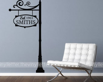 Custom Family Name Monogram Sign Street Post Vinyl Wall Decal Home Decor Sticker