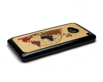 HTC One M7 Case Wood World Map Inlay, HTC One Case Wood HTC One Case, Htc One Wood Case, Wood Htc One M7 Case, Htc One M7 Wood Case