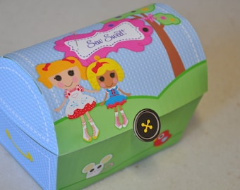 Lalaloopsy inspired rag doll sewing party pdf printable treasure chest party favor box with TEXT EDITABLE name panel