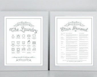SET 'The Laundry and Stain Removal' - print set - Guide To Procedures, Laundry Room, Guide, Rules, Sign, Vintage, Stains, Decor, Art
