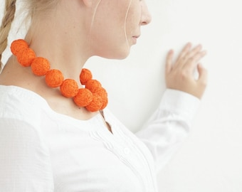 Orange short beads necklace cotton for women lace textile autumn halloween