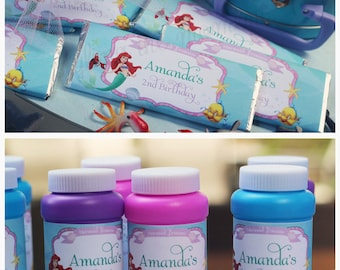 Little Mermaid Bubble Labels