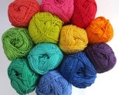Mercerised  Cotton Yarn in one each of 12 Rainbow Colours - 50g balls plus 3mm hook - Crochet/Knitting/Amigurumi