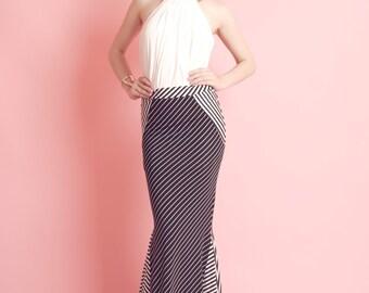 SALE Size S Tuck Black & White Stripe Mermaid Skirt - Gorgeous Long Nylon Spandex Skirt