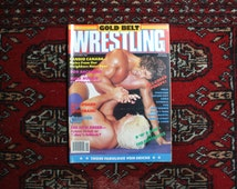 Vintage Wrestling Magazine. Rare 1987 Gold Belt Wrestling Magazine withKerry Von Erich Cover and tosn of posters Vintage WWF Wwe Collectible