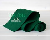 "100% Merino Wool Felt Roll - 5"" x 36""  Wool Felt  Roll- Wool Felt Color Forest Green-1260 - European Felt - Dark Green Wool Felt Roll"