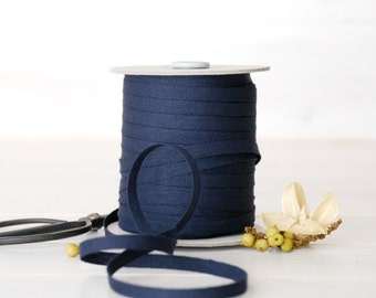 "Indigo Cotton Ribbon - 5, 20 or 109 Yards - 100% Cotton from Italy - 1/4"" Thickness - Navy Blue Color Eco Friendly Ribbon - Ribbon Bulk"