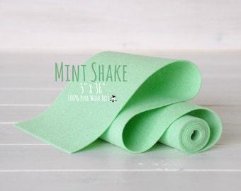 "100% Merino Wool Felt Roll - 5"" x 36"" Roll - Wool Felt Color Mint Shake -1190 - Mint Green Wool Felt - Pure Merino Wool Felt -  Mint Felt"