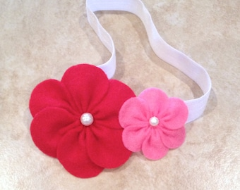 Candy pink and red felt headband. Great for newborns, infants, toddlers, and school age cuties