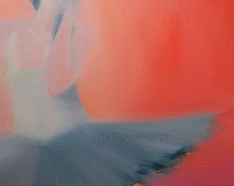 Ballerina print, Modern Art Dancer Print, Red Canvas Art Giclee Print, Tutu Wall Art Canvas