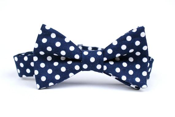 Boy's Bow Tie - Navy Polka Dot - Adjustable Velcro Closure