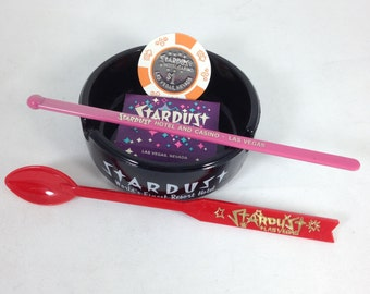 Stardust Deluxe Gift Set - Casino Chip Ashtray Matchbook and Swizzles - Great Christmas Present - Stocking Stuffer