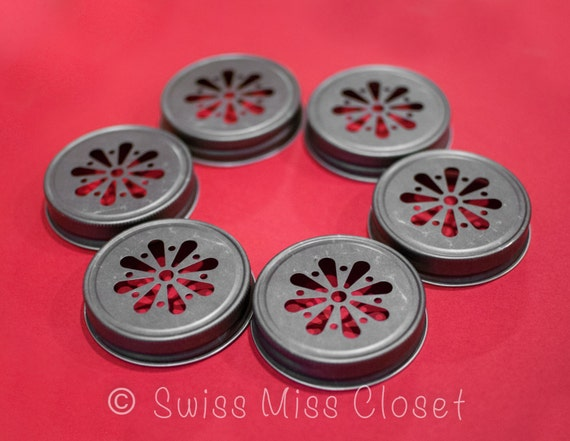 Sale!! Set of 12 Pewter Color Daisy Mason Jar Lids DIY Wedding, Party Decor