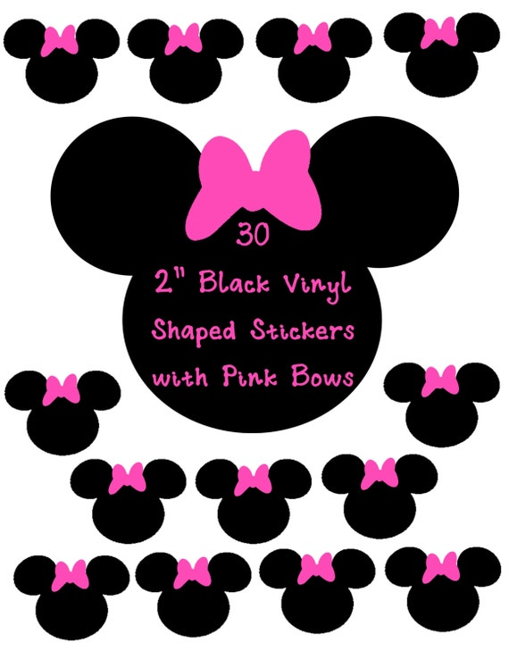 30 2 inch Black Shaped Stickers with Bows, Pick your Color! Envelope Seals, Party Favors, Party Glasses, Unlimited Possiblities