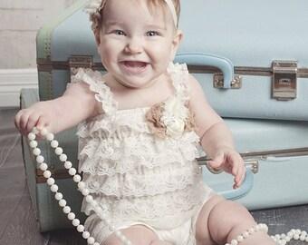 Ivory Petti Romper, Lace Romper, Ruffled romper, Baby girl & newborn, Pettiromper