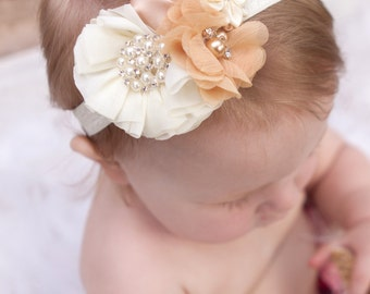 Ivory and tan Rose Headband, Baby Headband,  headband, hair bow, baby bow rosette