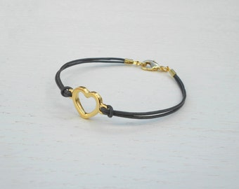 Gold heart bracelet, Gold leather bracelet, Romantic gifts for her