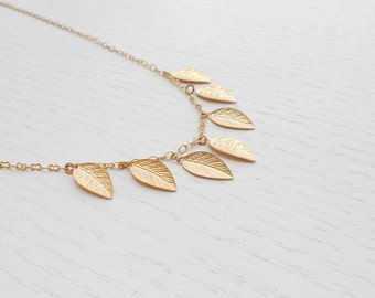Gold leaf necklace, Gold leaf charm, Delicate gold necklace