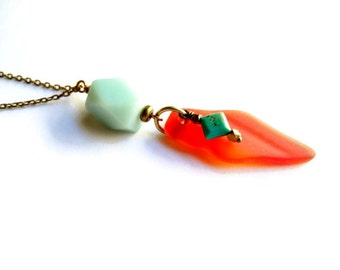 Eco-Friendly Recycled Glass with Natural Turquoise Long Necklace, Amazonite Stone Necklace, Red and Turquoise Jewelry, Recycled Jewelry