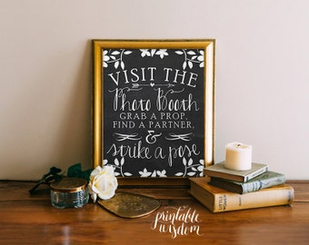 Photo booth sign, wedding photo booth chalkboard sign printable wedding photo booth props, chalkboard wedding sign, Printable Wisdom INSTANT