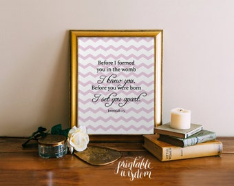 Nursery Bible Verse Print, Scripture art, Christian wall decor poster, Inspirational Jeremiah - Before I formed you - digital