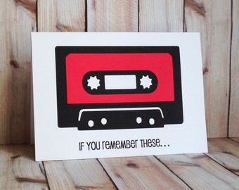 Music Lovers Birthday Card, Old School Hip Hop Cassette Tape, Eighties Rap Mixtape