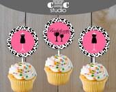 Little Black Dress Bachelorette Party Cupcake Toppers, Stickers, or Favour Tags - Printable Pink & Leopard Print Bachelorette Decor