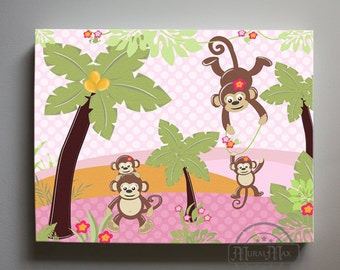 Monkey Nursery  Wall Art - Canvas Art , Monkey Jungle Nursery Decor  - Girls Room Decor - Monkey  Canvas Print  Pink and Green
