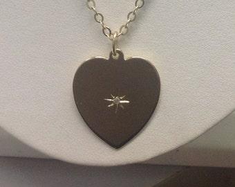 14k yellow gold and diamond necklace heart shape,wedding ready star set round brilliant cut diamond