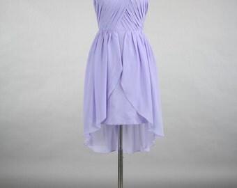 Lavender Bridesmaid Dress, Sweetheart High-Low Chiffon Bridesmaid Dress