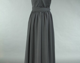 Grey Convertible Bridesmaid Dress, Long Chiffon Grey Bridesmaid Dress