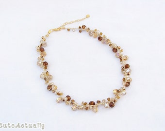 Brown crystal necklace on gold silk thread, short necklace, beautiful necklace