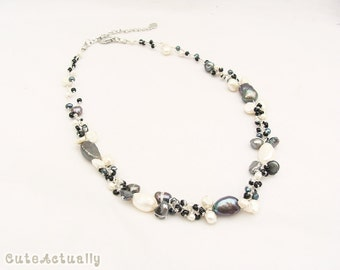 Black white freshwater pearl necklace with glass beadsl on silk thread, short necklace