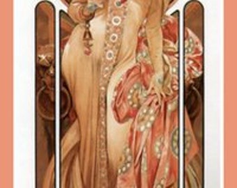 Vintage Art Nouveau Fridge Magnet Alphonse Mucha Moet & Chandon Champagne Taupe Ruby Fruit 1899