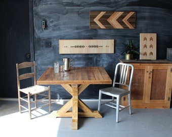 Trestle Base Kitchen Table Reclaimed Wood Rustic Modern Dining Table Pallet and Barn Wood
