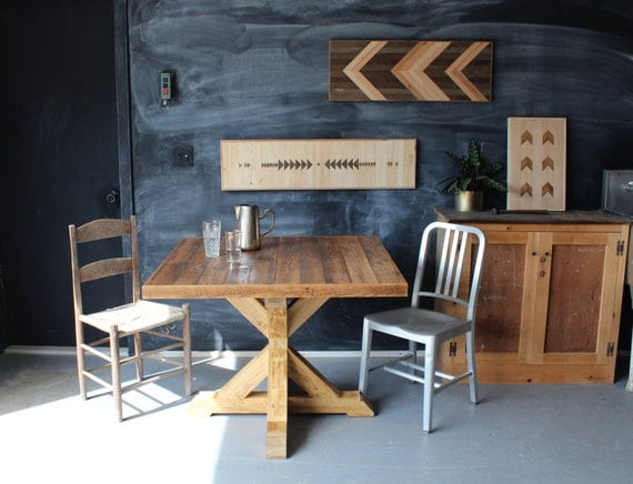 trestle base kitchen table reclaimed wood rustic modern dining. Black Bedroom Furniture Sets. Home Design Ideas