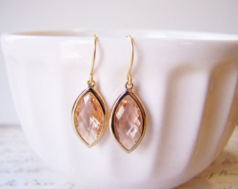 Bridal Marquise Champagne Peach Faceted Glass 14k Gold Filled Bridesmaid Earrings / Gift for Her