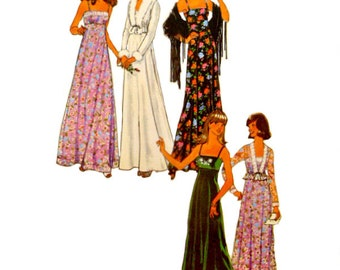 70's Uncut Long Maxi Evening Dress Pattern Size 12 Bust 34 Empire Waist Unlined Short Jacket Vintage Simplicity 7807 Sewing Pattern FFolds