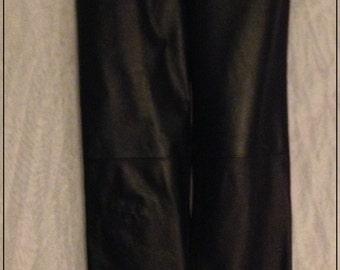 SALE *****Mint 80's black leather 5 pocket pants jeans Lew Magram size 10